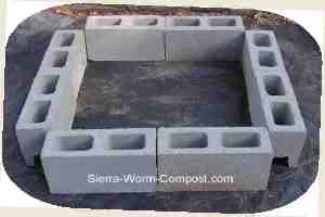 concrete cinder block for worm compost bin